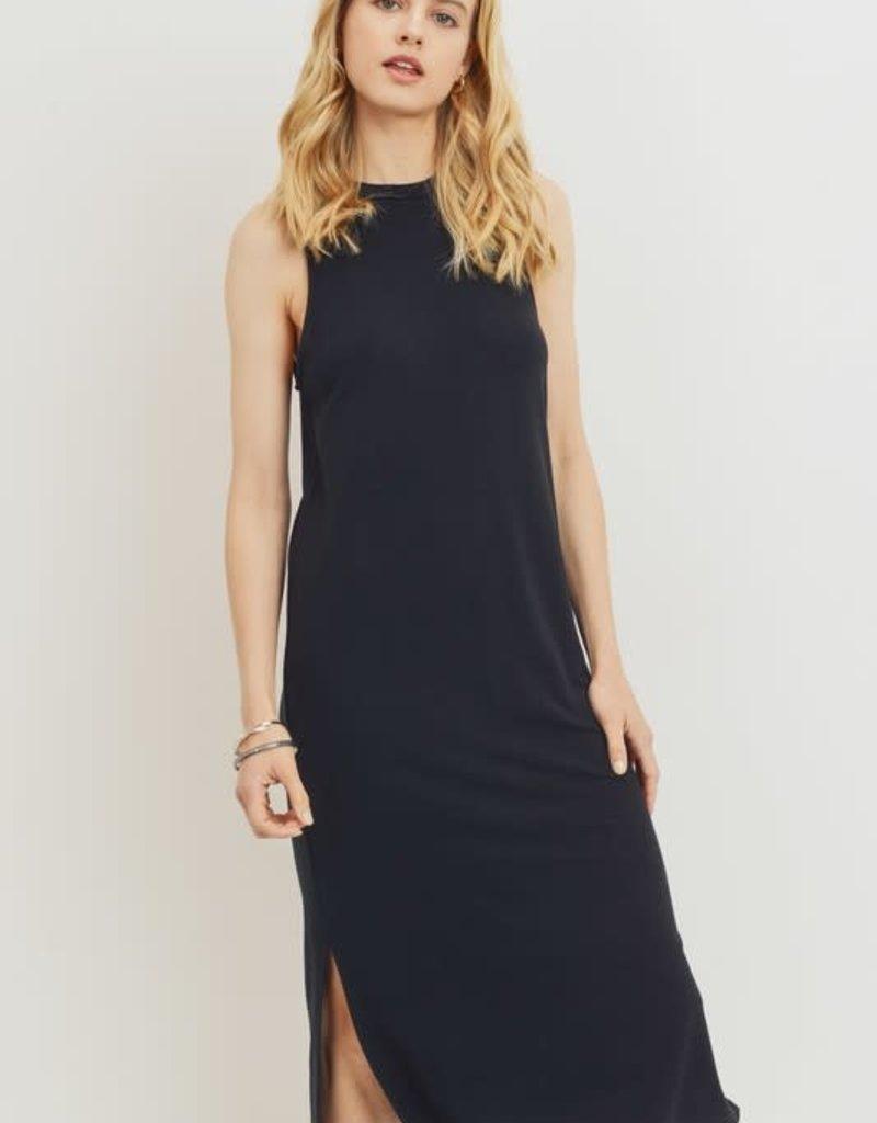 wildflower black french terry sleeveless midi dress