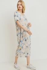 wildflower tie dye v neck pocket midi dress