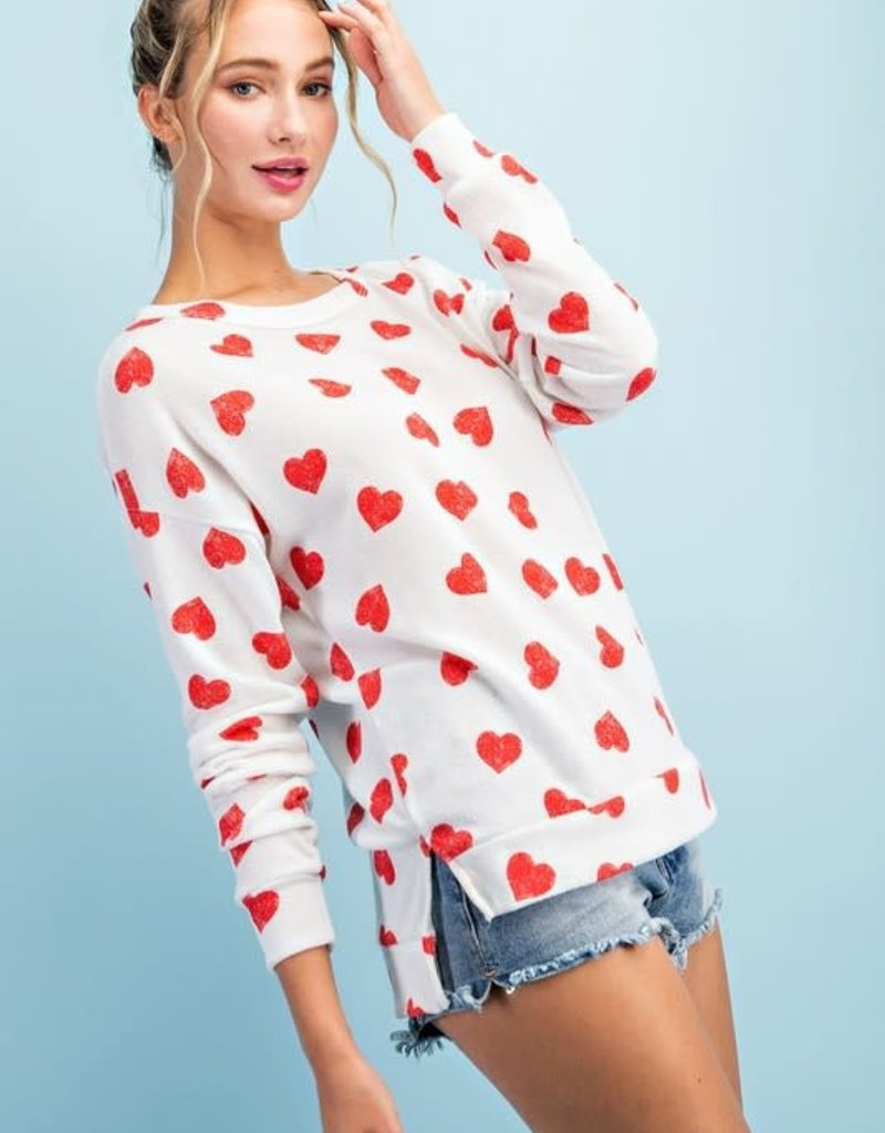 wildflower hearts l/s crew neck top