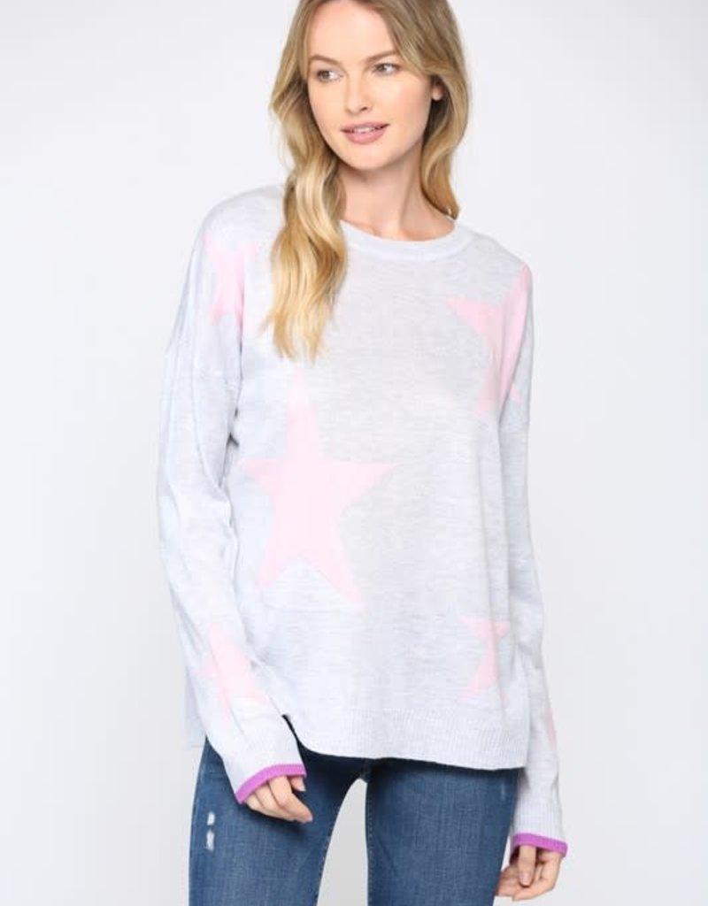 wildflower star intarsia light knit sweater