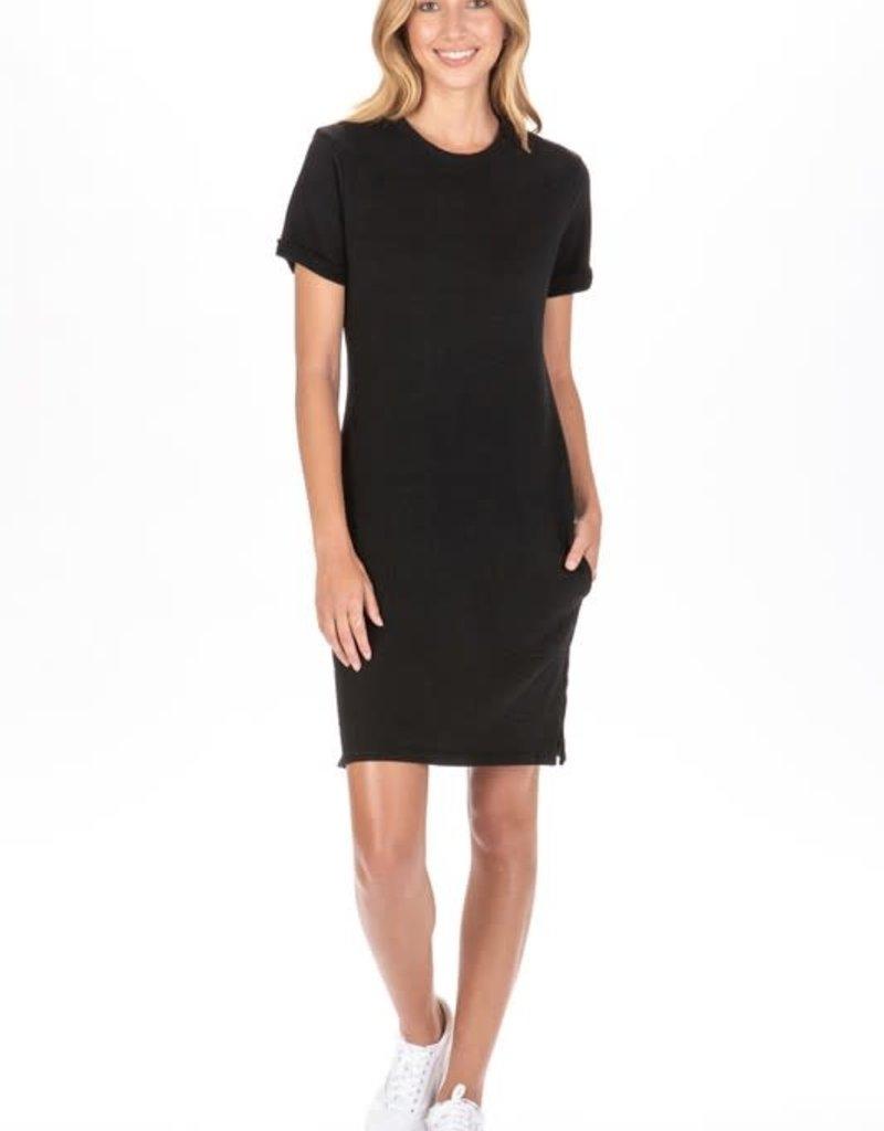 cotton terry s/s dress w/pockets