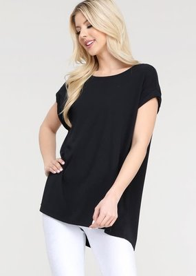 wildflower Essential Cap-Sleeve Solid Athleisure Flow Top
