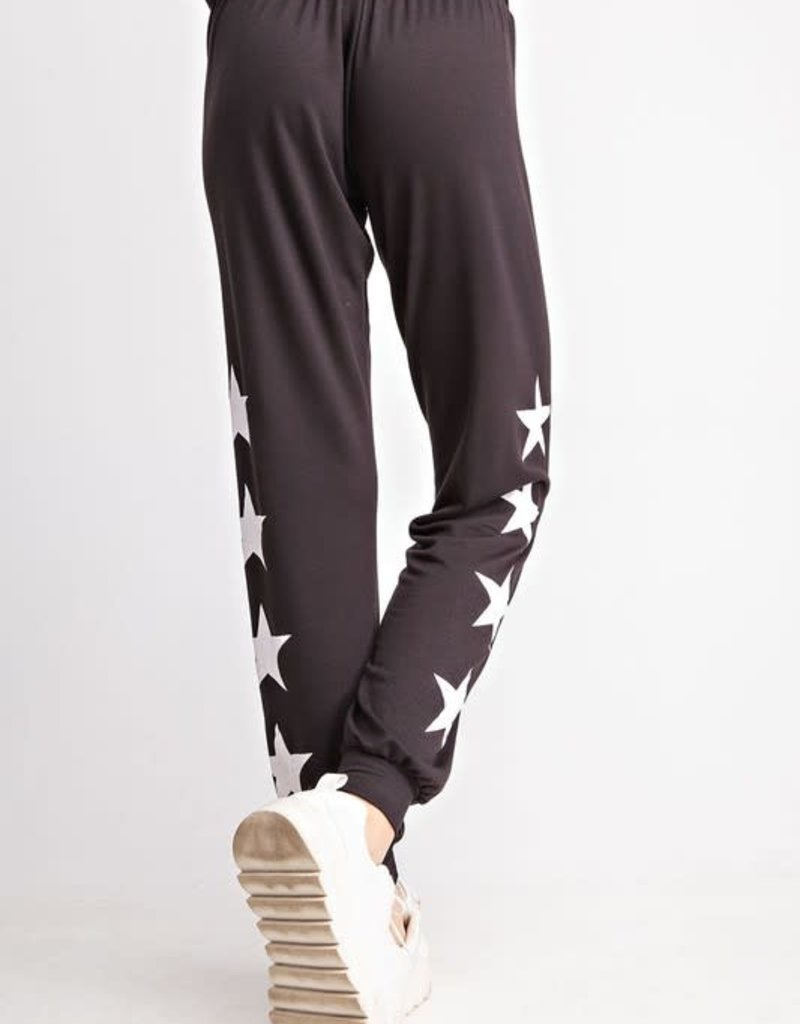 wildflower FRENCH TERRY KNIT PANTS WITH GRAPHIC STAR PRINT SWEATPANTS