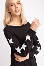 wildflower FRENCH TERRY ROUND NECK STAR PRINT LONG SLEEVE TOP