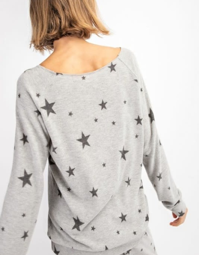 wildflower CASHMERE FEEL STAR PRINT WIDE NECK LONG SLEEVE TOP