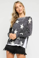wildflower Star Lined Sweater features side slits and a crew neck