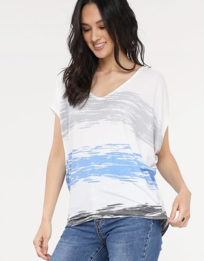 wildflower v neck short sleeve stripe print top