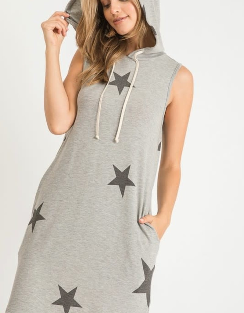 wildflower STAR PRINT HOODED DRESS WITH DRAWSTRINGS