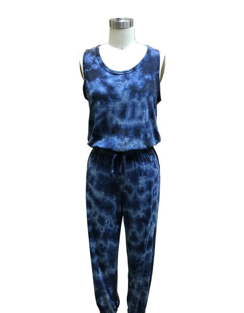 wildflower Easy jumpsuit mineral wash dye on star print