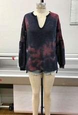 wildflower Tie dye sweater with v-neck and net sleeve