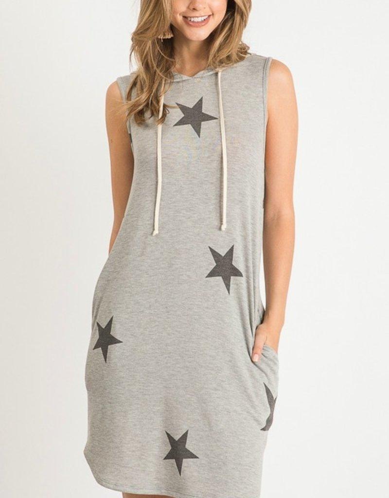 wildflower STAR PRINT HOODED DRESS WITH DRAWSTRINGS