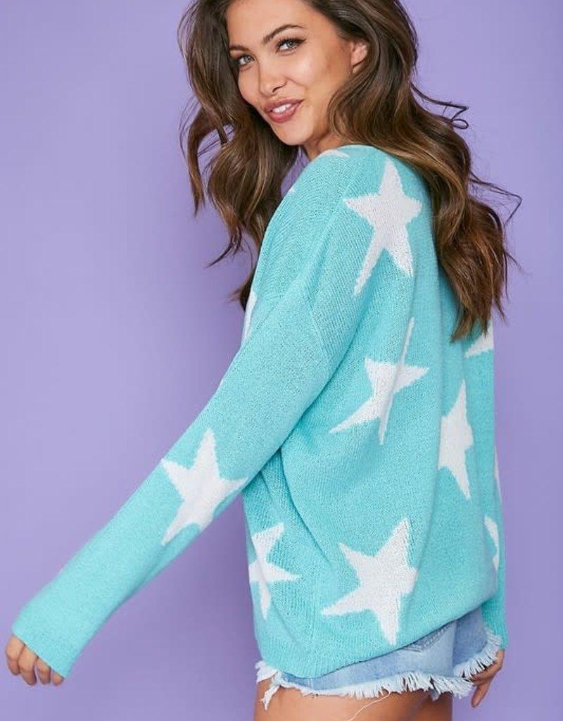wildflower star printed v neck light weight sweater