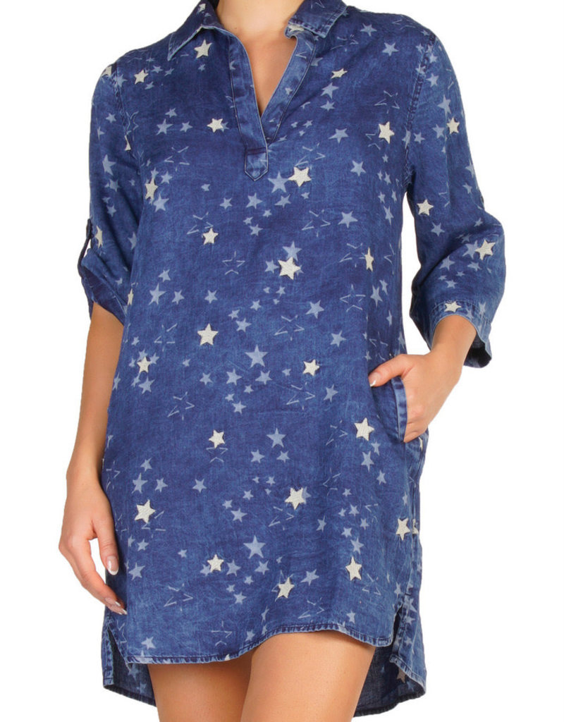 3/4 sleeve star v neck dress mineral wash