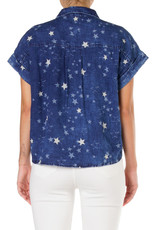 top tie button down star mineral wash top