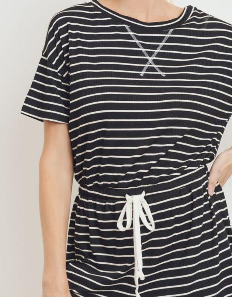 wildflower stripe rib knit s/s romper