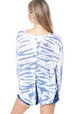 wildflower v-neck and cross over open back knit top in wide bamboo dye