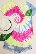 wildflower tie dye oversized casual tee