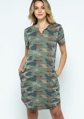 wildflower camouflage print tunic dress v neck