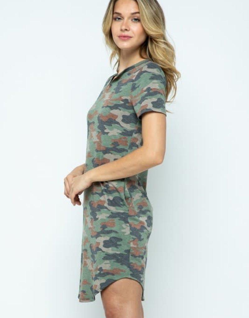 wildflower camouflage print tunic dress v neck