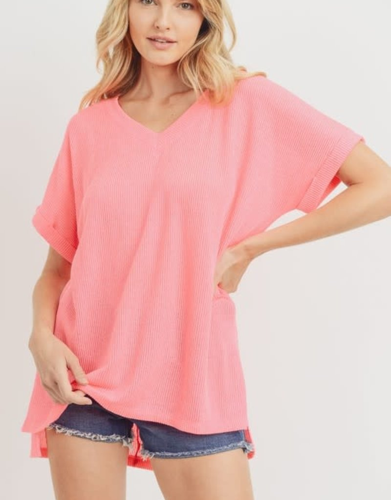 wildflower v neck cuffed hi-low ribbed knit top