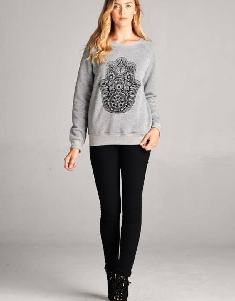 wildflower henna hamsa sweatshirt
