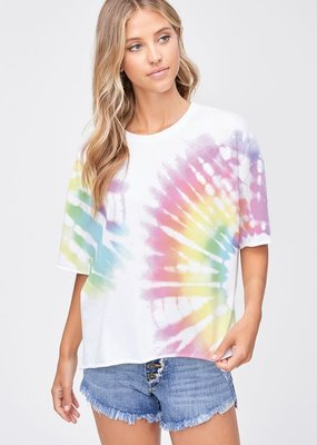 wildflower tie dye side slit short slv top