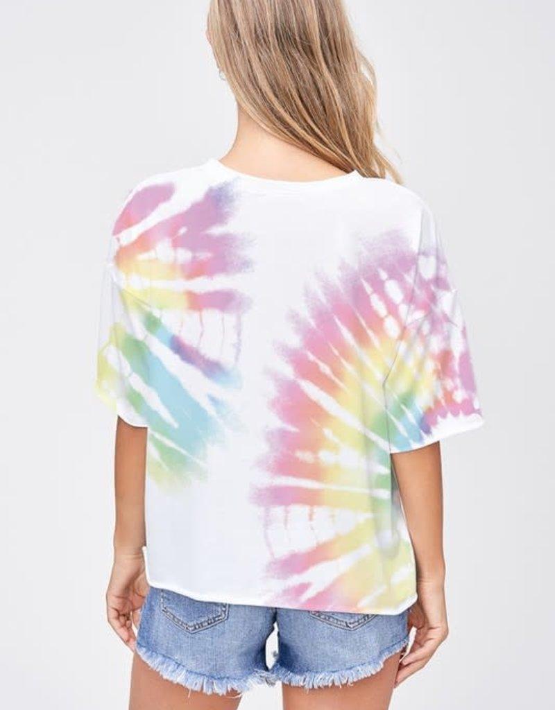 wildflower tie dye side slit short slv top