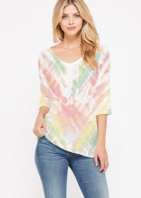 wildflower tie dye v neck knit short slv top