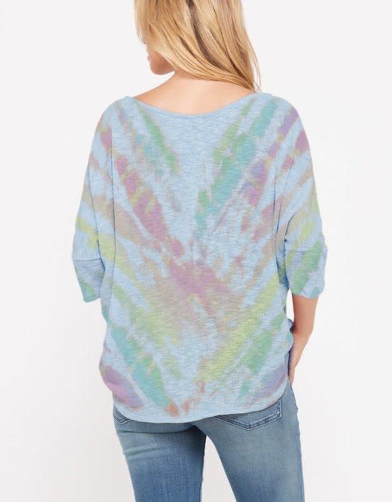 wildflower tie dye v neck knit short slv top