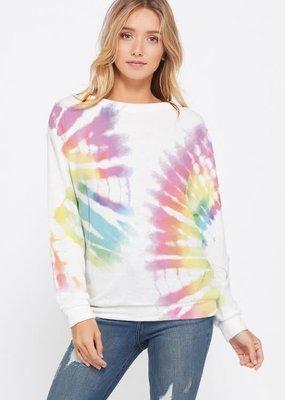wildflower tie dye side swirl sweatshirt l/s top