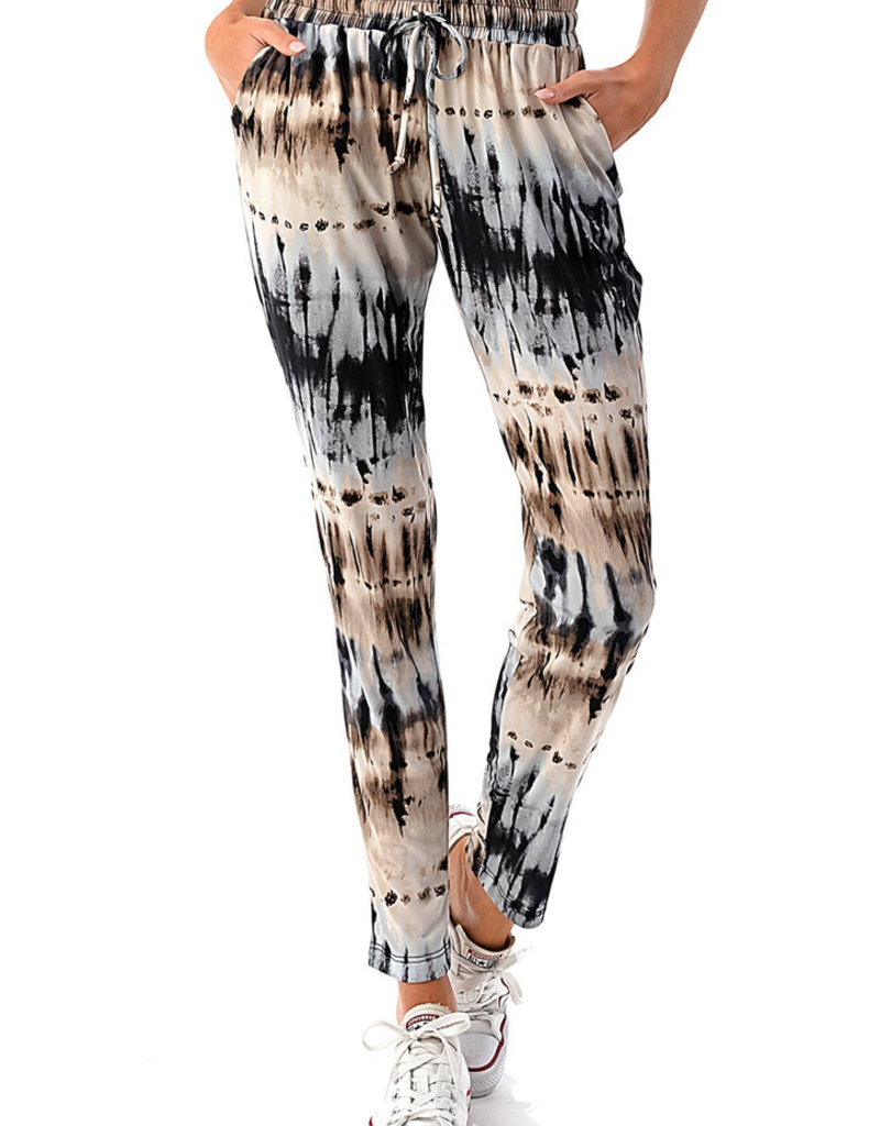 wildflower tie dye print ruched joggers