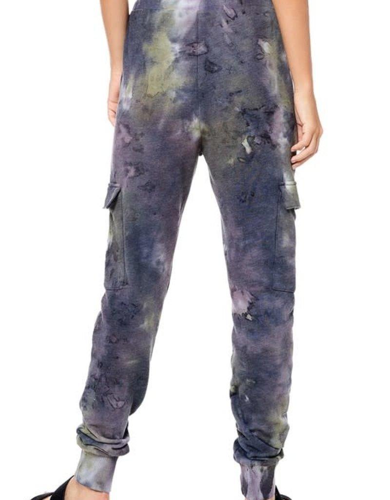 wildflower tie dye cargo jogger