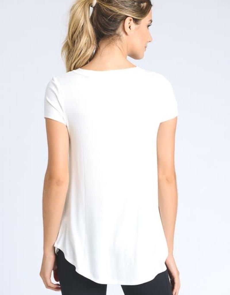 wildflower longline deep V neck pocket t shirt