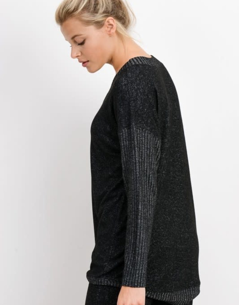 wildflower v neck jersey ribbed sweater