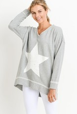 stardust antiqued star v neck sweatshirt