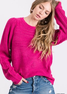 stardust soft knit puff shoulder pullover