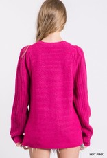 stardust soft knit puff shoulder pullover