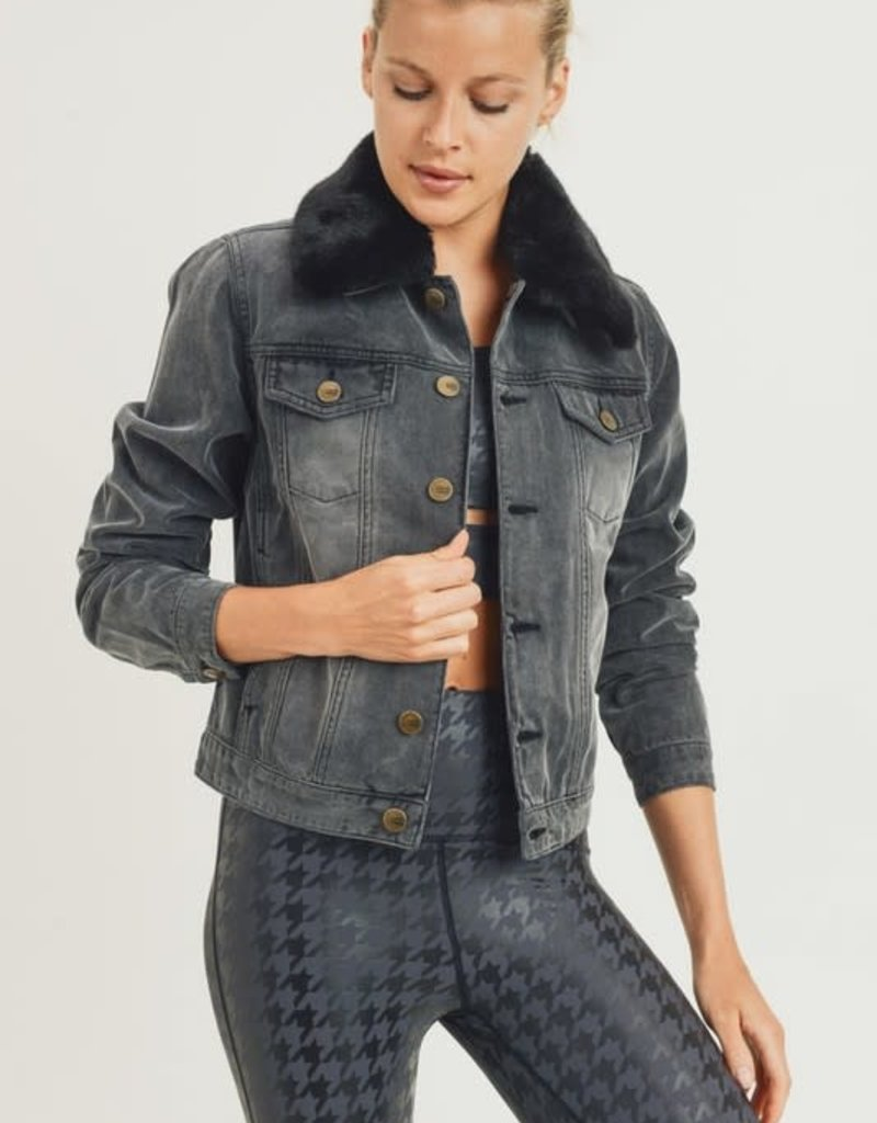 wildflower faded denim jacket with detachable faux fur collar