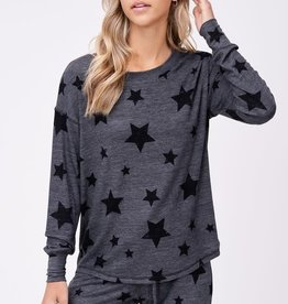 stardust Black stars lounge wear long sleeve set