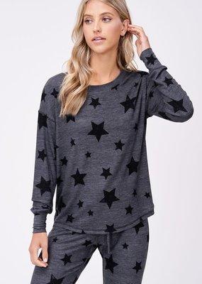 stardust Black stars lounge wear long sleeve set