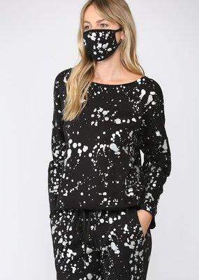 stardust Foil paint splatter sweatshirt w/matching mask