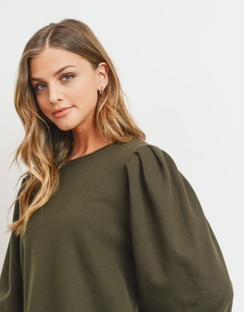 wildflower bubble sleeve french terry top