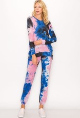 wildflower Tie dye long sleeve crew w/split  waist band