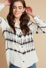 bella dahl fray hem flowy button down tie dye