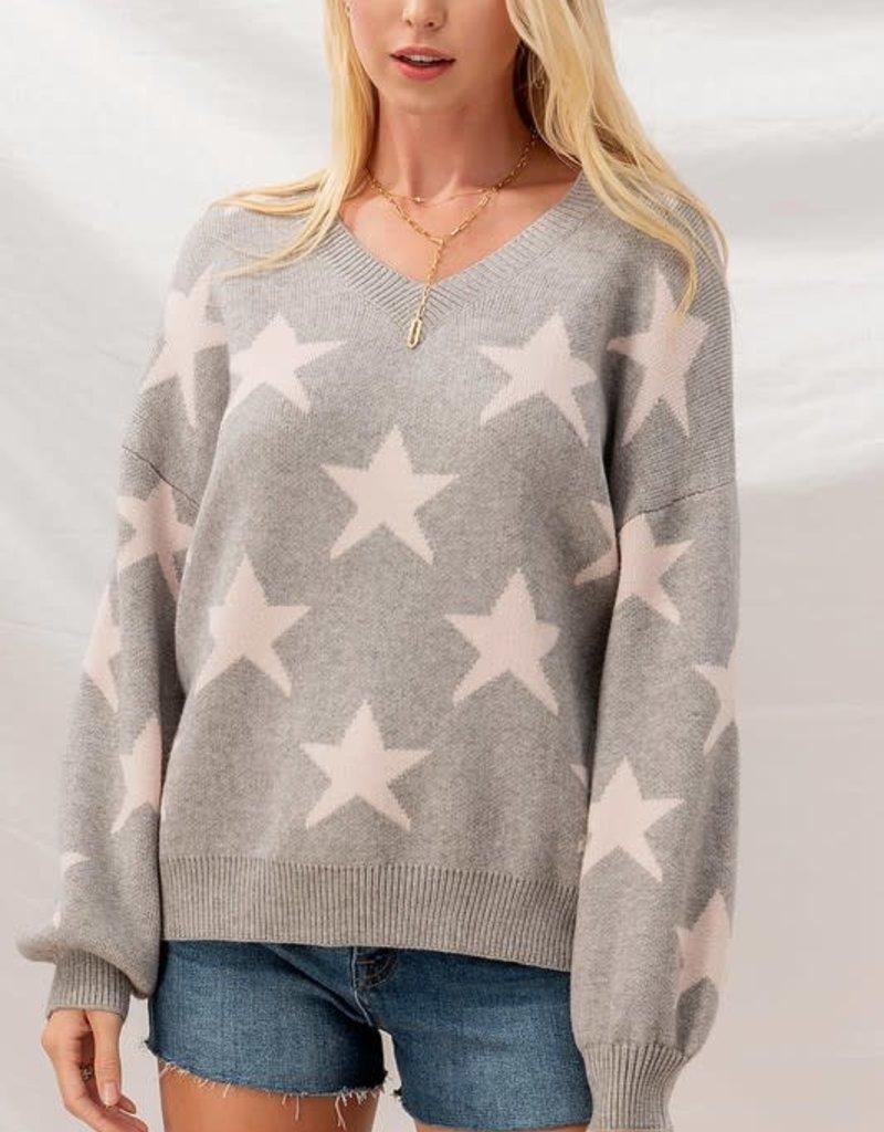 wildflower Star knit sweater w/dropped shoulder