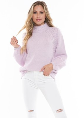 stardust MOCK NECK CABLE KNIT SWEATER