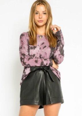 stardust Purple Tie Dye Distressed Sweater
