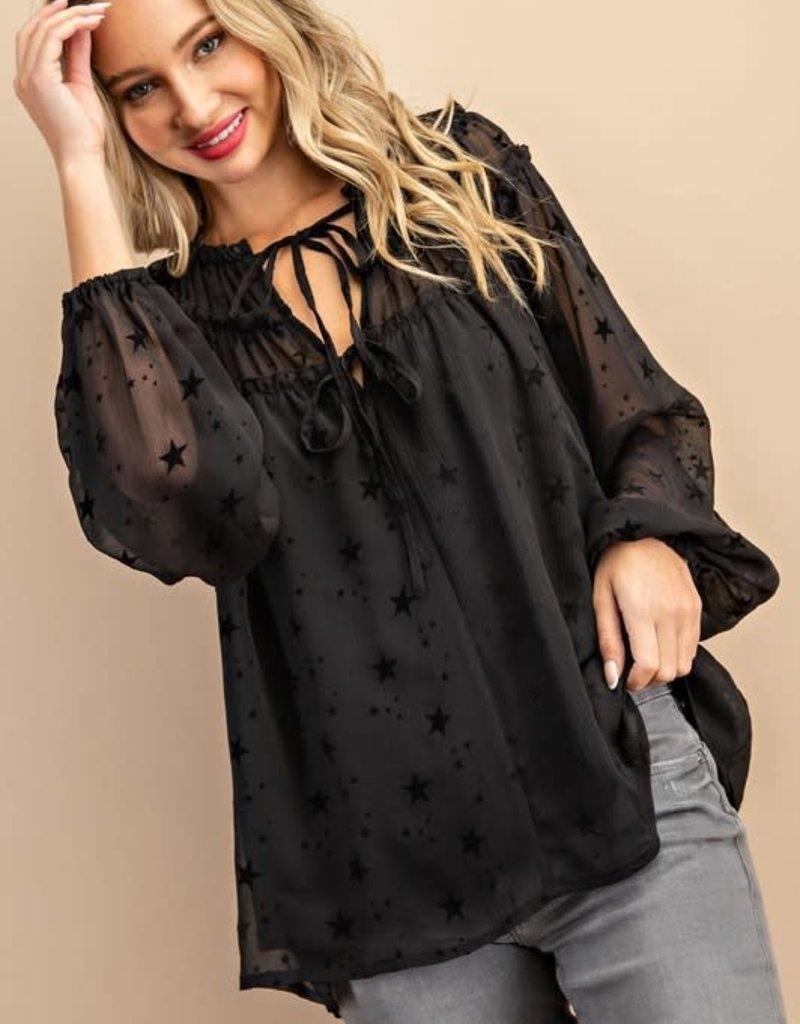 stardust Star print ruffle blouse