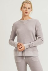 wildflower Cotton Waffle Mineral-Washed Pullover