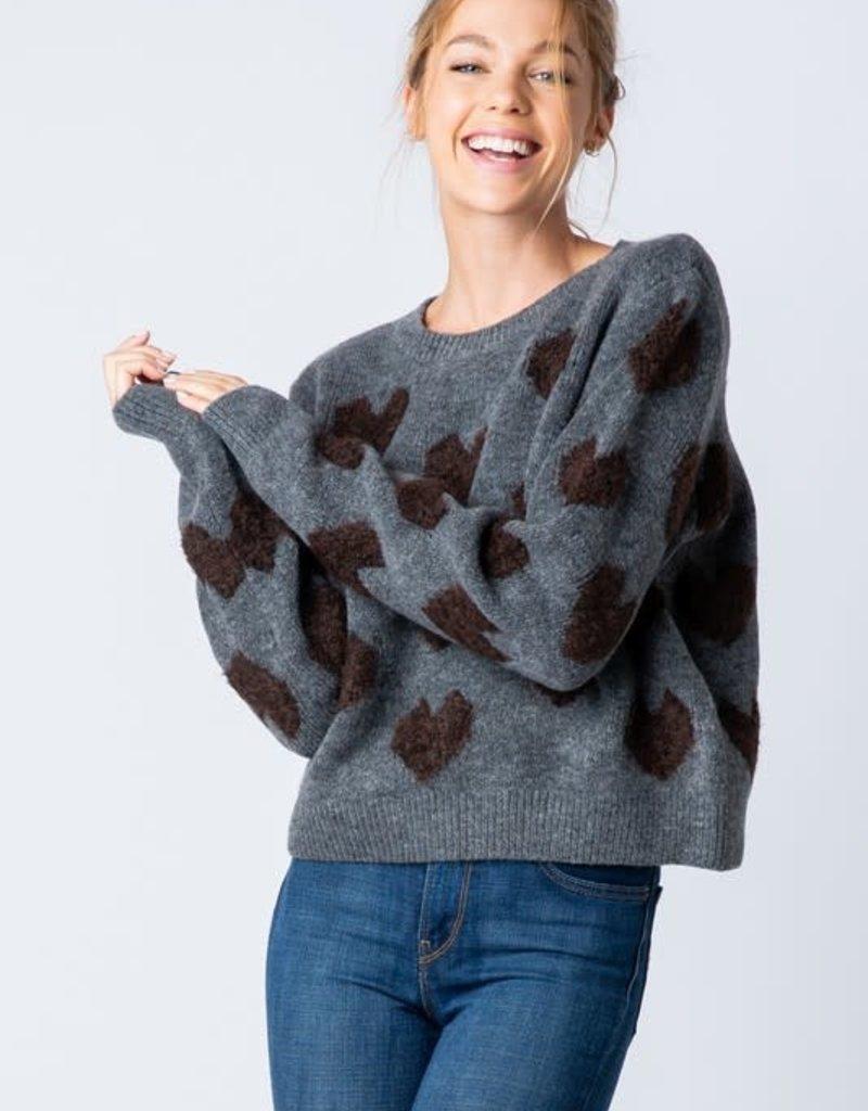stardust fuzzy heart sweater